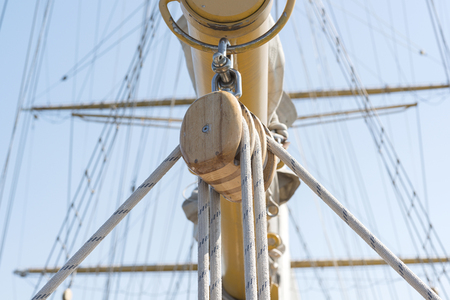 cordage: sailing vessel cordage. selective focus. Stock Photo
