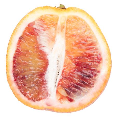 half  cut: fresh half cut bloody orange. isolated on white background.