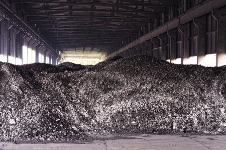 heap: Black coal heap background. Mining concept. Stock Photo