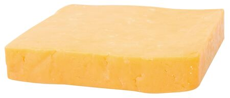 pasteurized: sinlge piece of chedder cheese. isolated on white background by clipping path.