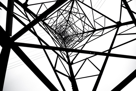 cabling: Power Transmission Tower Stock Photo
