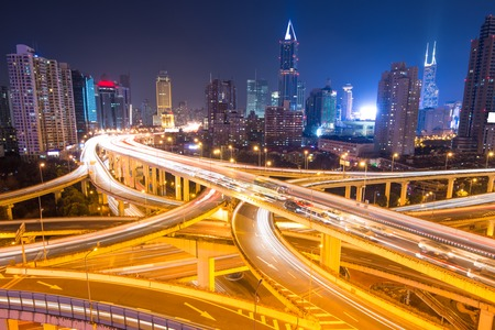 elevated: elevated road junction panorama in shanghai at dusk,China