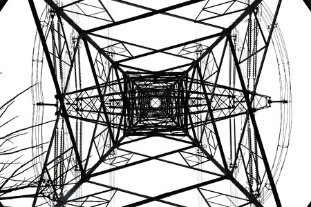 over voltage: High-tension power line on white isolated background Stock Photo