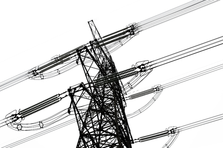 power line: overhead power line isolated on white background Stock Photo