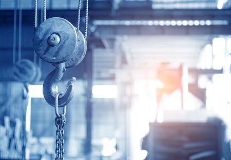 empty warehouse interior with crane hook