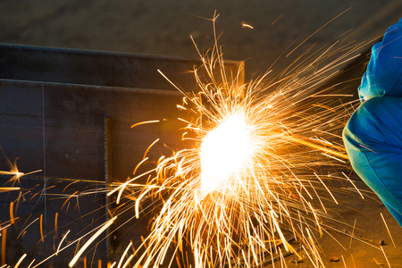 Sparks in smelting industry Stock Photo