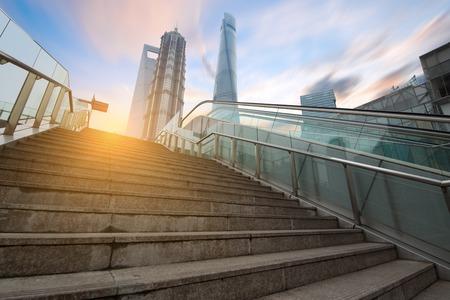 overbridge: China Shanghai Lujiazui financial district,