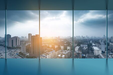 highroad: A birds eye view of the city night view outside the window Stock Photo
