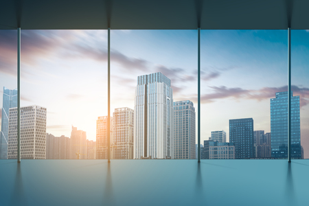 Nice Illustration   Large Clean Designer Office Window To Skyline Illustration