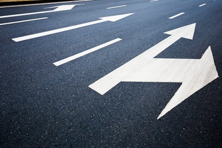 markings: Road lanes with arrow markings
