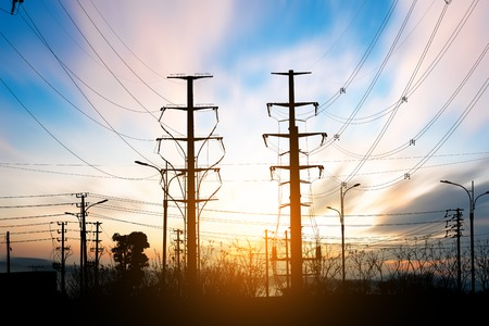 regulators: High Voltage electric substation with transformers