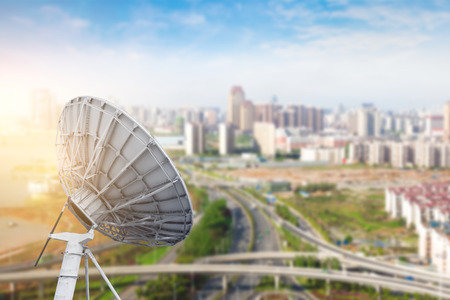 airwaves: Aerial view of the city and the dish