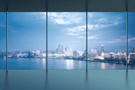 view window: A birds eye view of the city night view outside the window Stock Photo