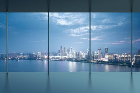 birds eye view: A birds eye view of the city night view outside the window Stock Photo