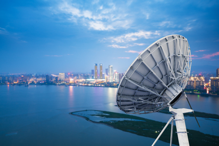 airwaves: picture of parabolic satellite dish space technology receivers