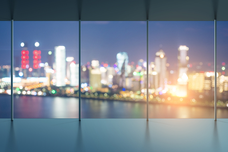 glass ceiling: A birds eye view of the city night view outside the window Stock Photo