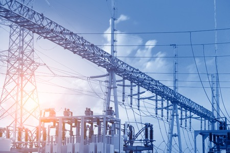isolators: High voltage power transformer substation Stock Photo