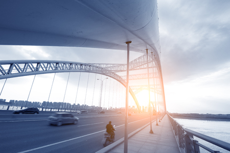 modern bridge: the night of modern bridge, Stock Photo