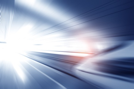 Super streamlined high speed train station tunnel with motion light effect background realistic poster print vector illustration Stock Photo
