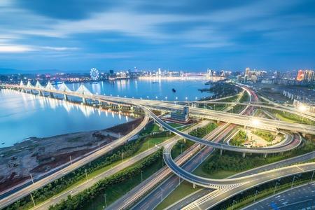 nanpu bridge at dusk ,crosses huangpu river ,shanghai ,China