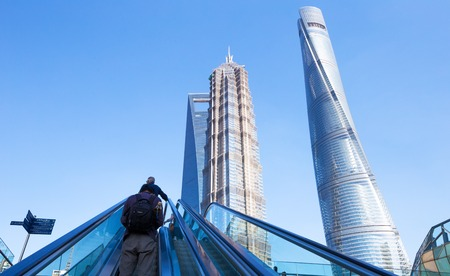 overbridge: Shanghai world financial center skyscrapers in lujiazui group