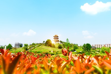 hebei: The Mid-lake Pavilion and a pond of lotuses. Located in Chengde Mountain Resort. It is a large complex of imperial palaces and gardens situated in the city of Chengde in Hebei, China.