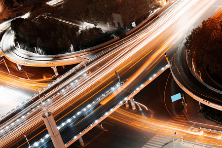 Overpass of the light trails, beautiful curves.