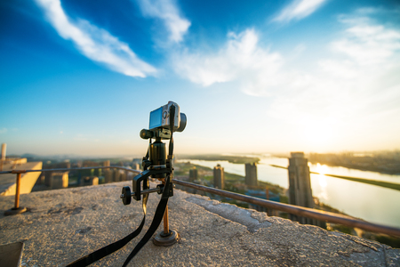 Miniature SLR camera is filming the famous Chinese ancient architecture Stock Photo