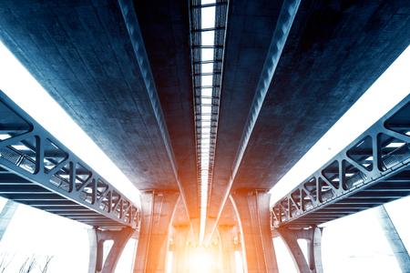 Elevated expressway. The curve of suspension bridge, Thailand. Stock Photo