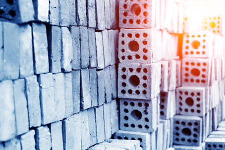 bloc: Industrial production of bricks Stock Photo