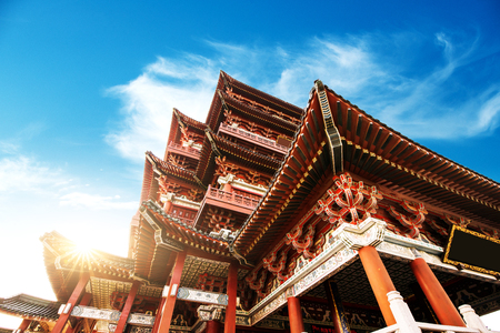 poetic: Tengwang Pavilion,Nanchang,traditional, ancient Chinese architecture, made of wood.