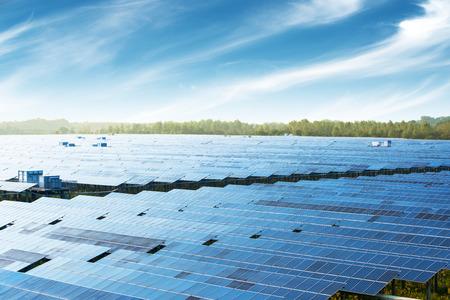 Multiple solar panels, pollution-free green energy base.