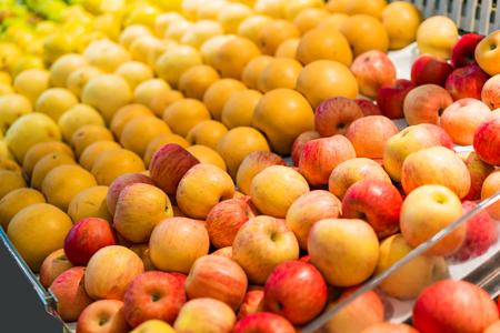 Shelf with fruits on a farm market