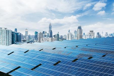 Urban background solar panels, Shanghai, China. Editorial
