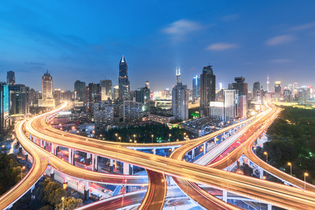 Elevated view of a Road Junction in Shanghai, China. aerial view the overpass at night, shanghai china.