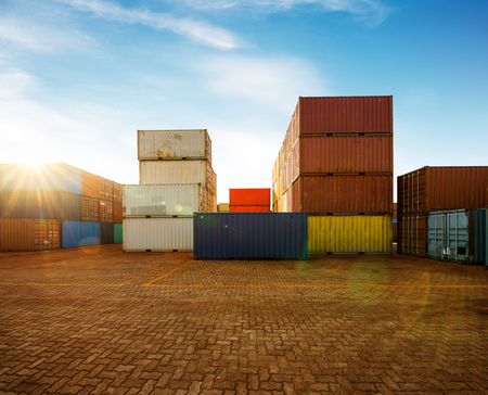 Industrial container yard of logistics import and export business under the blue sky
