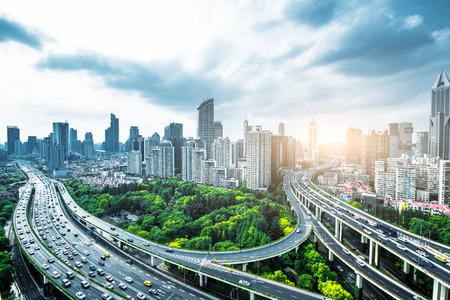 Shanghai elevated road at dusk Standard-Bild