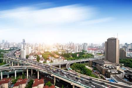 shanghai elevated road junction and interchange overpass at night Stock Photo - 110522152