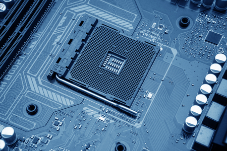 Technology background with computer server semiconductor processors CPU concept blue circuit board texture 写真素材