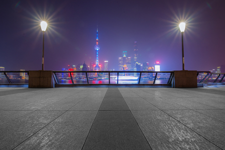 Panoramic view of shanghai city skyline and Huangpu river