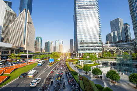 Panoramic view of shanghai city skyline Stock Photo