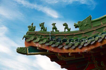 Die Ecke des chinesischen alten Dachbodens Standard-Bild