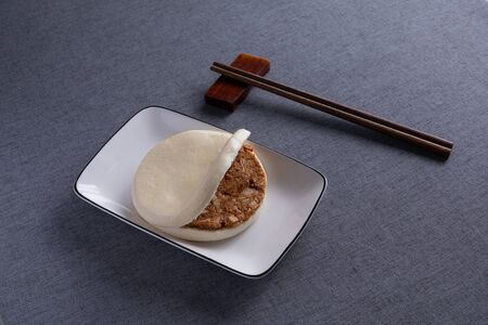 chinese hamburger with Red Wood Chopsticks