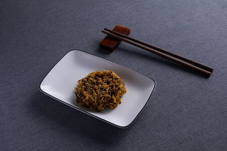 Salted vegetables with Red Wood Chopsticks