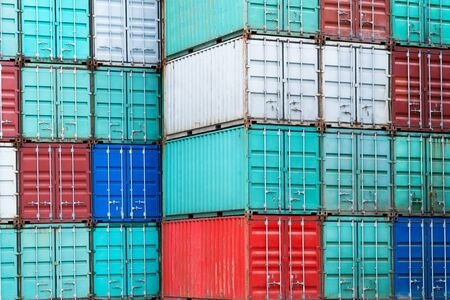 Stack of containers box, Cargo freight ship for import export. 스톡 콘텐츠