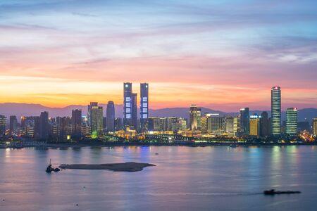 modern high-rise buildings line the new honggutan district in nanchang, jiangxi province.