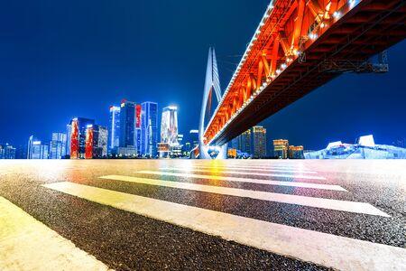 Night view and beautiful skyline of Chongqing urban architecture