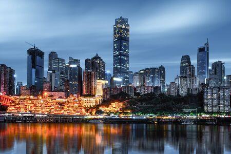 Chongqing Hongyadong night, Hongyadong stilts is the traditional architecture in Chongqing.