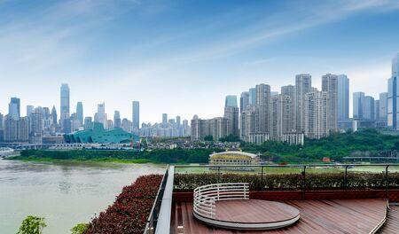 Parks and dense modern buildings, Jiangbei New City, Chongqing, China. 版權商用圖片