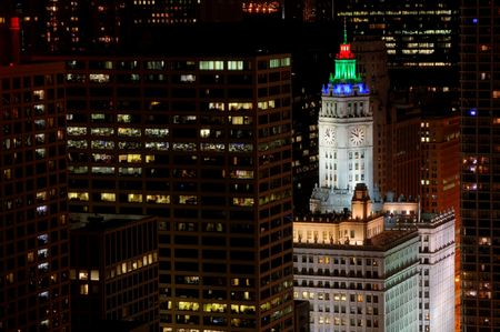 Colorful lights in Downtown Chicago photo